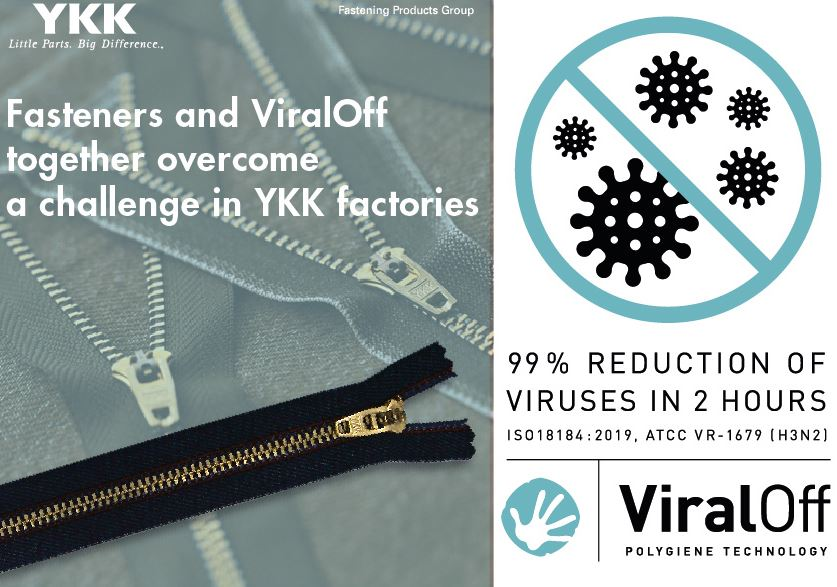 Lineapelle, september 2020: YKK presents the first zipper with Viraloff® Polygiene antiviral treatment on the tape.